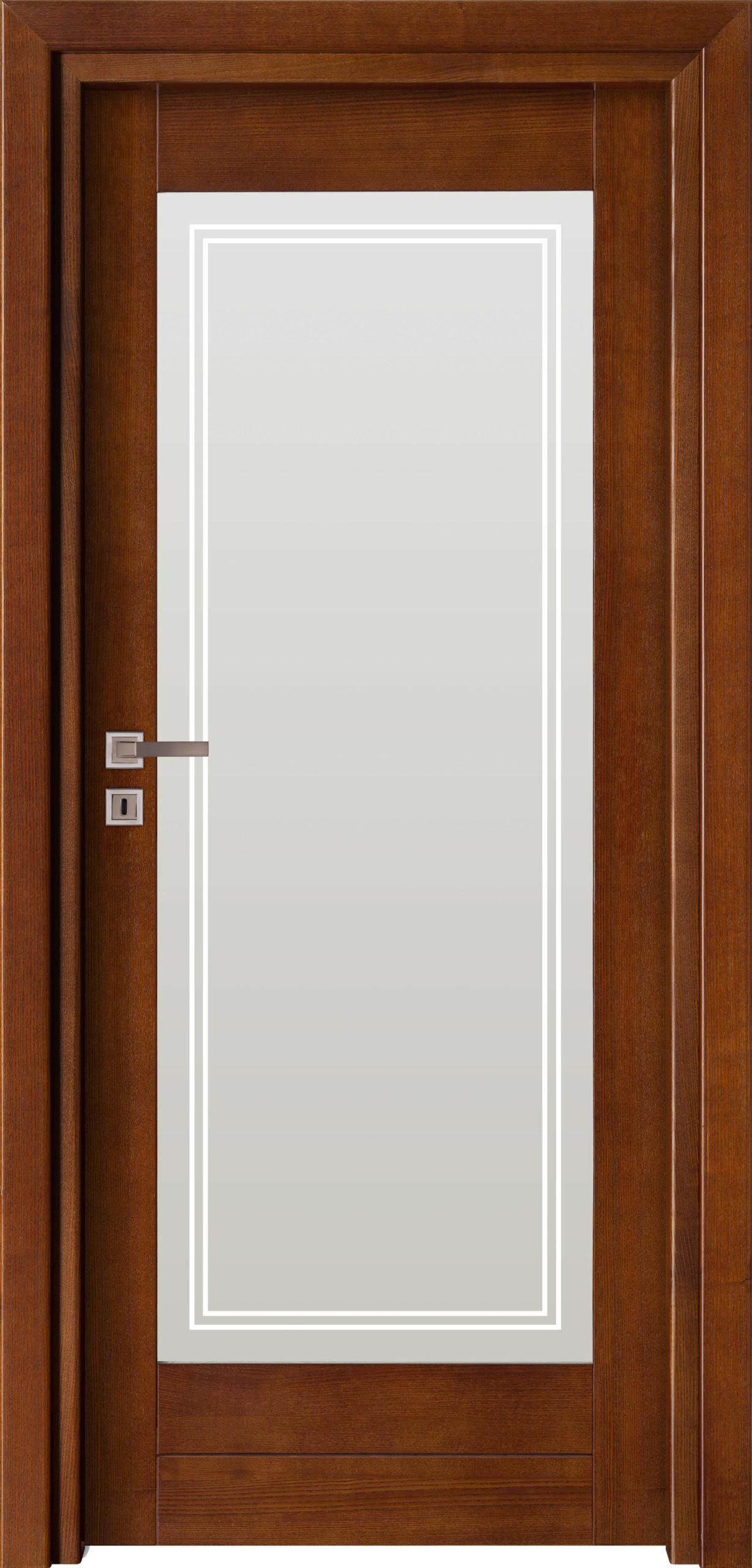 Sevilla D4 - jesion - ciemny calvados - szklenie lacomat bezpieczny z piaskowaniem - ościeżnica przylgowa regulowana drewniana prosta (IIa)